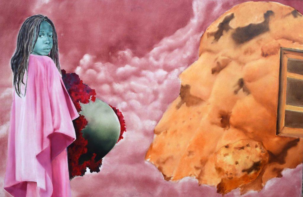 Nengi Omuku, Sweet sweet home, 2017, oil on canvas, 120 X 180cm.