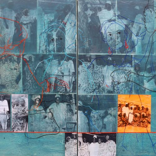 ASIKO 2 (Family Album Series), Corrugated cardboard, laminated print, and acrylics on Canvas, diptych, 92x122x6cm each