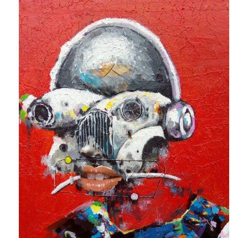 Sejiro Avoseh - Baldy III, Mixed Media on Canvas, 20 x 25 inches.
