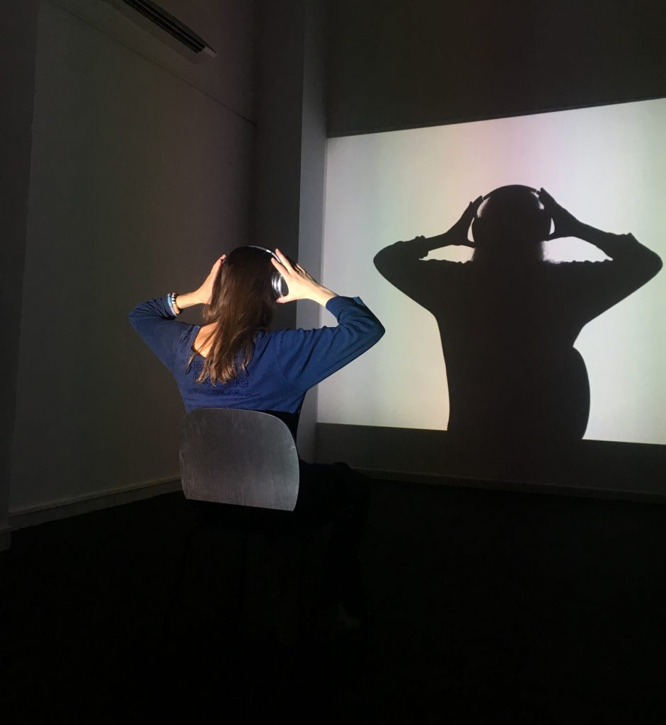 """Anike Joyce Sadiq, You Never Look At Me From The Place From Which I See You, 2015. Installation projection with Dak'Art guest, Dak'Art Biennale 2018 """"Invisible"""" curated by Alya Sebti. Photo credit: The Sole Adventurer."""