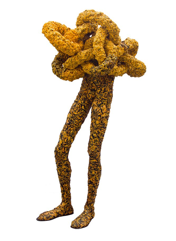Interlocked Man by Olumide Onadipe, plastic bags, 162 x 84 cm, 2018