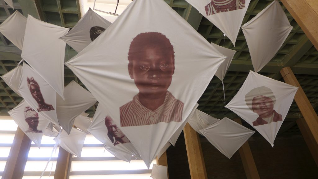 """Nathalie Mba Bikoro(Gabon), Triumph of Seagulls, 2016. Installation view, Dak'Art Biennale 2018 """"The Red Hour/A New Humanity"""" curated by Simon Njami. Photo credit: The Sole Adventurer."""
