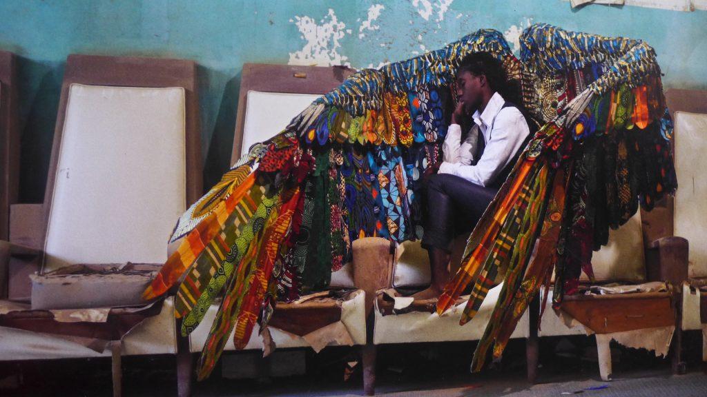 "Laeila Adjovi,Malaïka Dotou Sankofa #3bis, 2017 (from the seriesMalaïka Dotou Sankofa), showing at ""A New Humanity"", 13thDak'ArtBiennale, curated by SimonNjami. Photo credit: The Sole Adventurer."