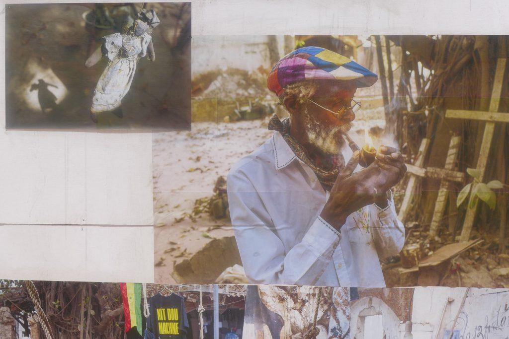 """Photographs of Laboratoire Agit'Art by Bastien Defives. Installation detail showing Issa Samb. """"La cloche des fourmis"""" organized by Laboratoire Agit'Art. Photo credit: The Sole Adventurer."""
