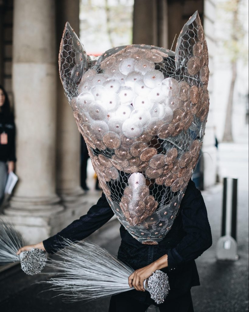 Adejoke Tugbiyele, Shifting The Waves: The mask, The Boat, The Broom, The Box, 2017. Image from the performance at 1:54 Contemporary Art Fair, London. Image copyright Katrina Sorrentino, courtesy the artist.