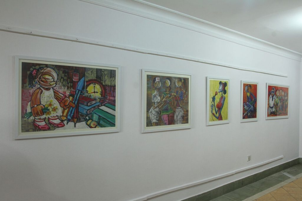 Installation view of works by Olubunmi Oyesanya-Ayaoge. Four Women, Revolving Art Incubator (RAI), Lagos. Image courtesy RAI.