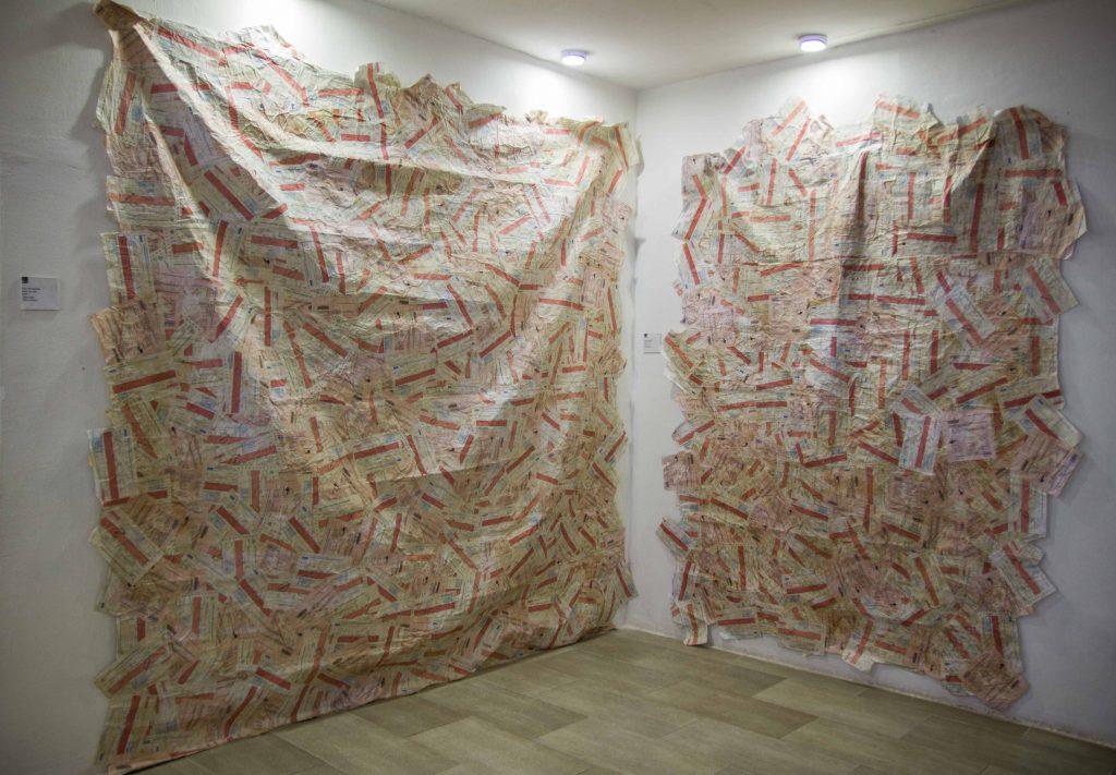 Ayo Akinwande, Post No Bill I and Post No Bill II, 2017. Installation view, Power Show at Omenka Gallery, 2018. Courtesy Ayo Akinwande.