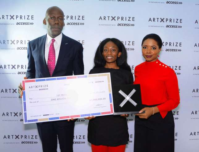 L-R: Amaechi Okobi, Group Head, Corporate Communications Access Bank, Bolatito Aderemi-Ibitola, Winner 2018 Art X Prize with Access, and Tokini Peterside, Founder and Director, Art X Lagos.