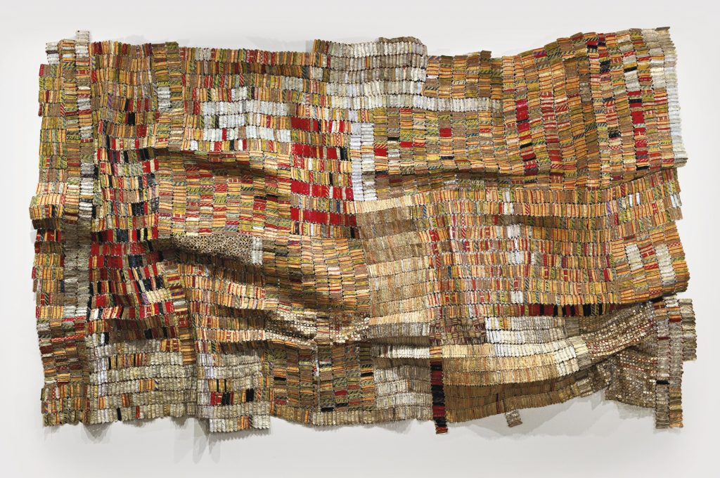 El Anatsui, Man's Cloths II, 2006, aluminium bottle caps, neckbands and copper wire. Source: sothebys.com