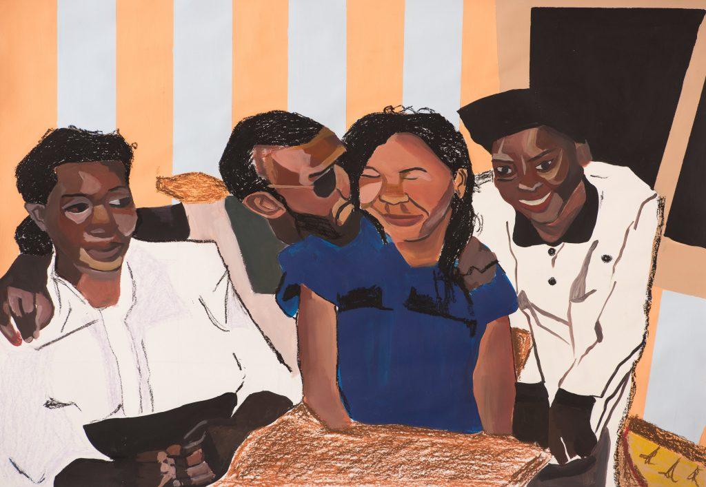 Joy Labinjo, Untitled, 2018, Acrylic and oil pastel on paper | Courtesy Art X Lagos