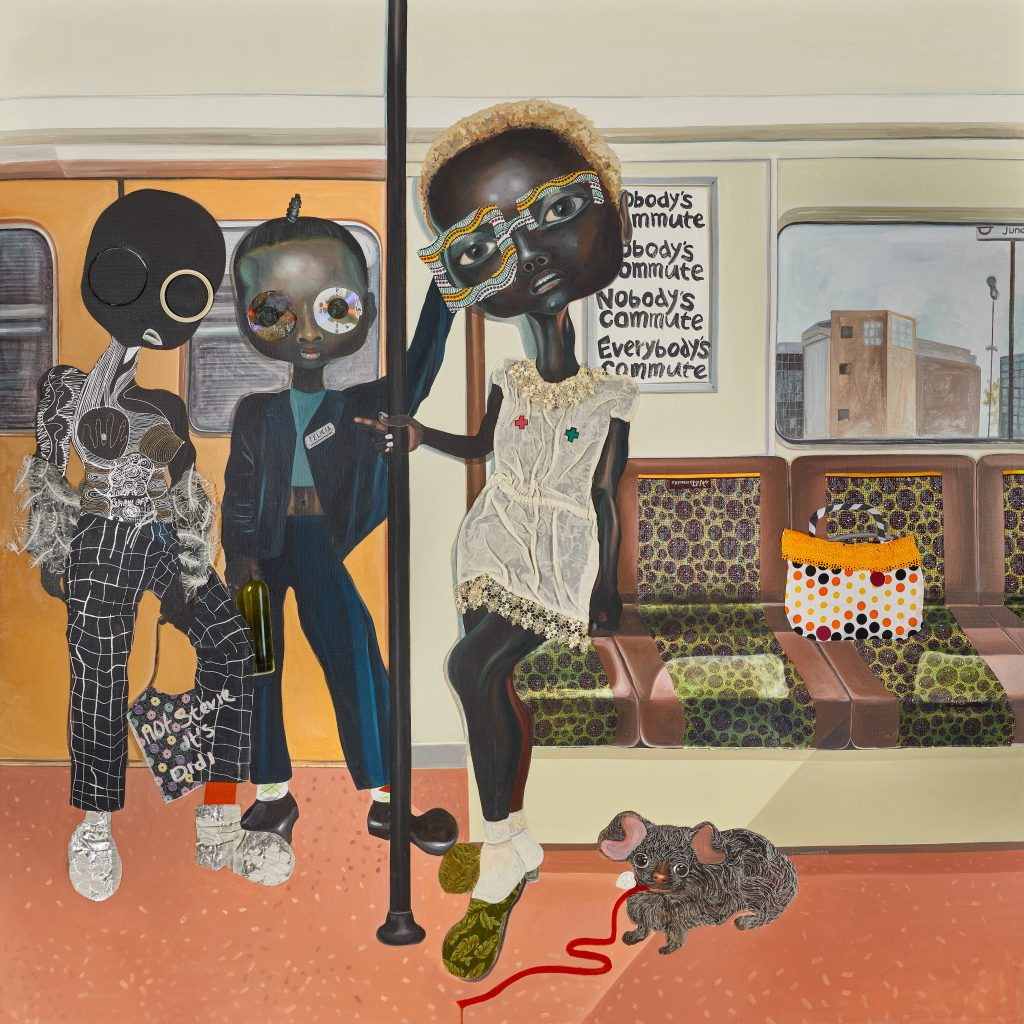 Ndidi Emefiele 'Somebody's Commute', 2018, Courtesy of Rosenfeld Porcini gallery