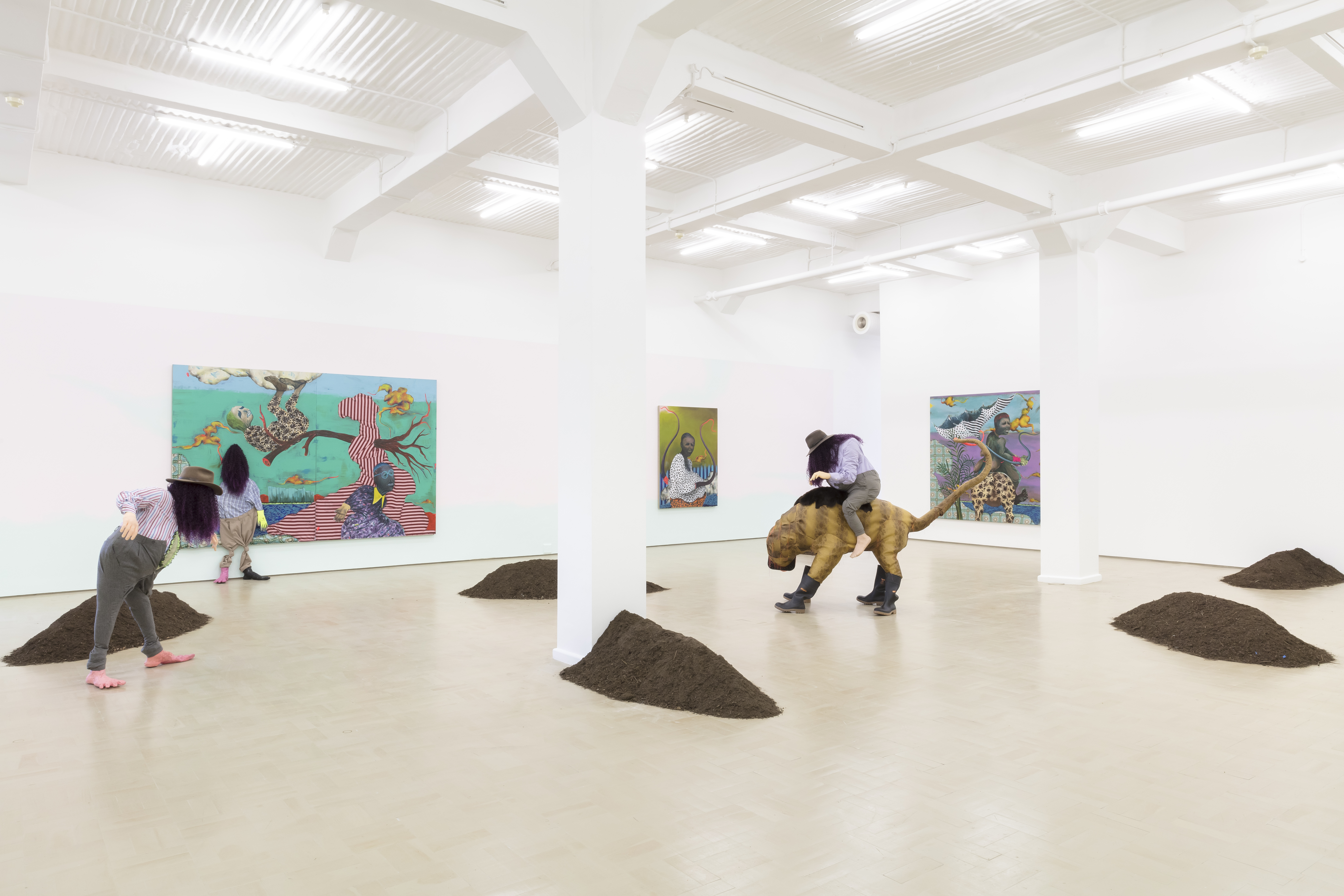 """Simphiwe Ndzube """"Uncharted Lands and Trackless Seas"""", 2018. Installation View Stevenson, Cape Town. Courtesy, Stevenson Gallery."""