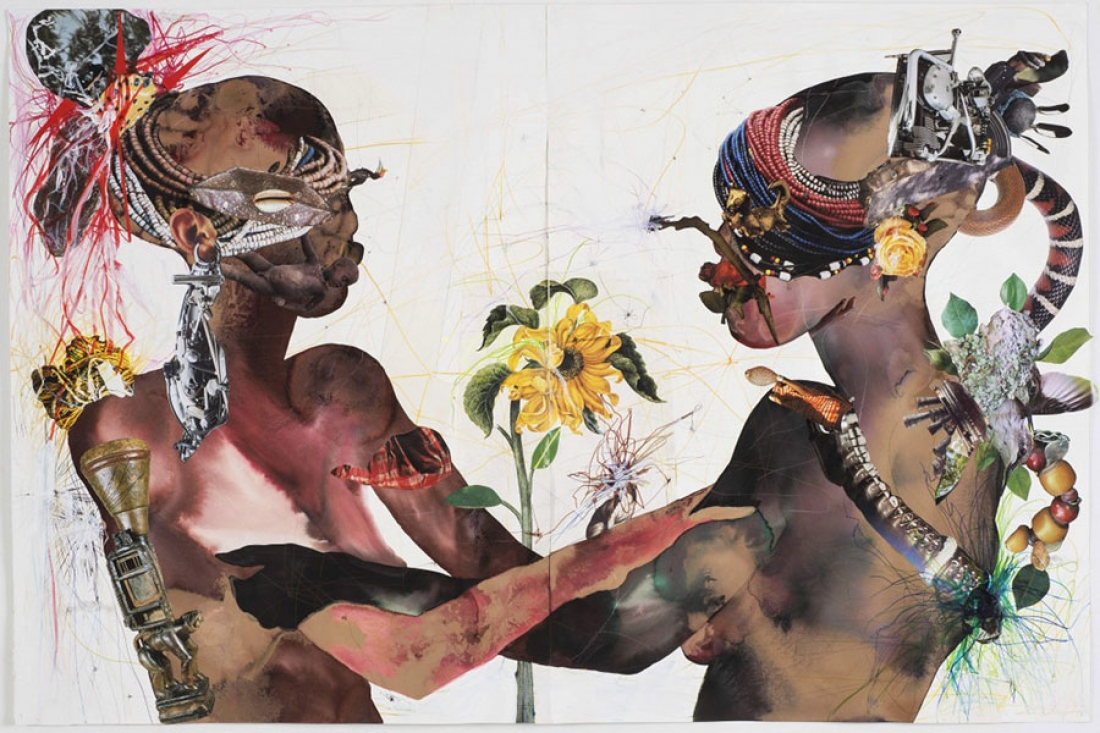 "Wangechi Mutu, ""You Are My Sunshine"", Collage Painting on Paper, 2015 via www.wellesley.edu"