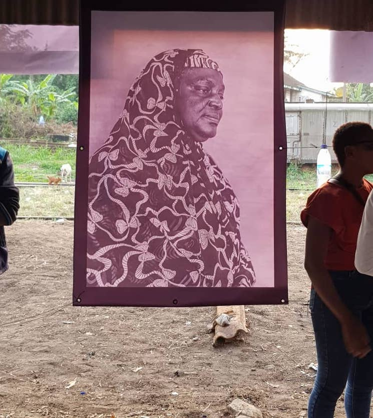 Re-imaging Futures: A Trans-Nigerian Conversation exhibition by Innocent Ekejiuba and Yinka Elujoba of Invisible Borders at the Nigerian Railway Corporation yard, Lagos. Image credit: Roanna Tella