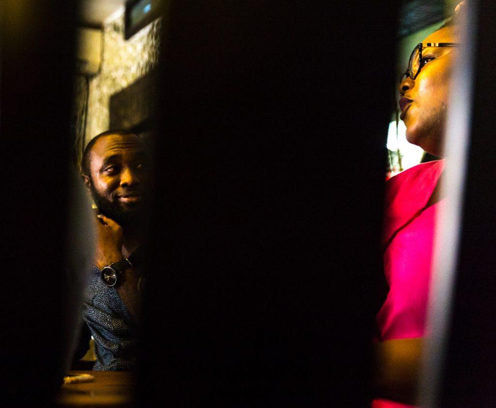 Emmanuel Iduma (L) and Wana Udobang (R) at Bogobiri in Lagos. Photo credit: Ben Ibeabuchi for TSA Magazine