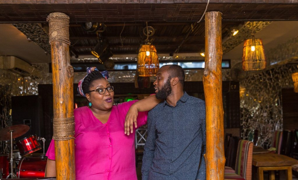 Wana Udobang (L) and Emmanuel Iduma (R) at Bogobiri in Lagos. Photo credit: Ben Ibeabuchi for TSA Magazine