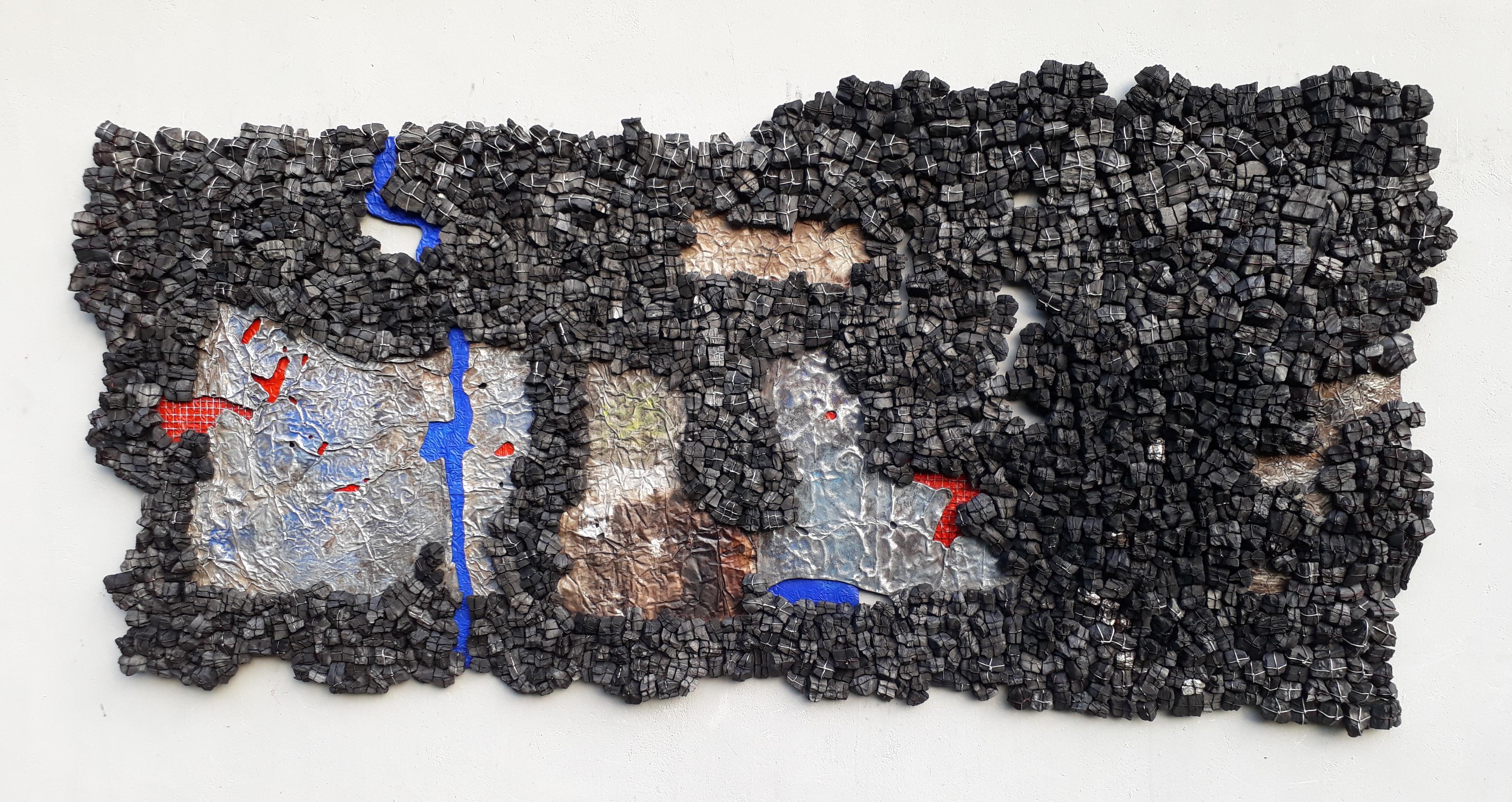 "Eva Obodo, ""2017 In History"" (2017), charcoal, metal, acrylic, courtesy Arthouse"