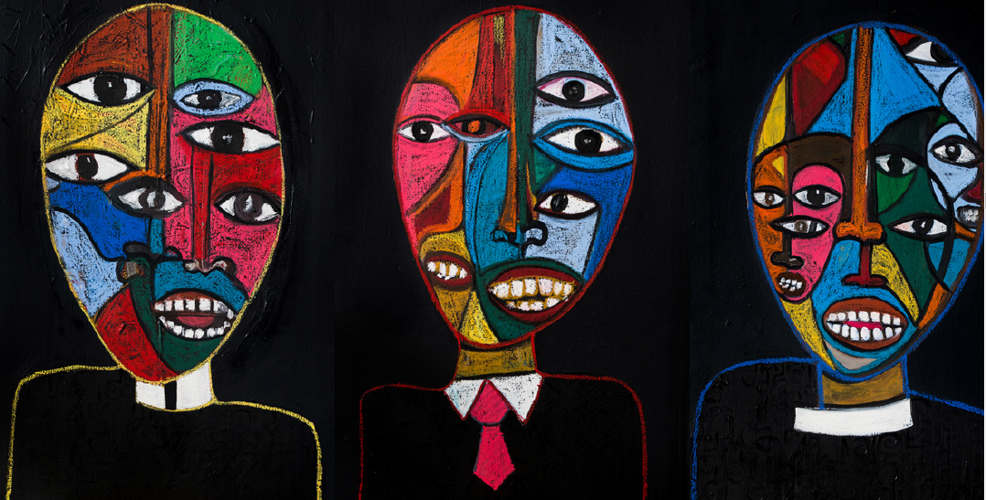 "Victor Ehikhamenor, ""Revered Dream Sellers of Lagos"", 2019, Oil on Canvas (Triptych). Courtesy, Rele Gallery"