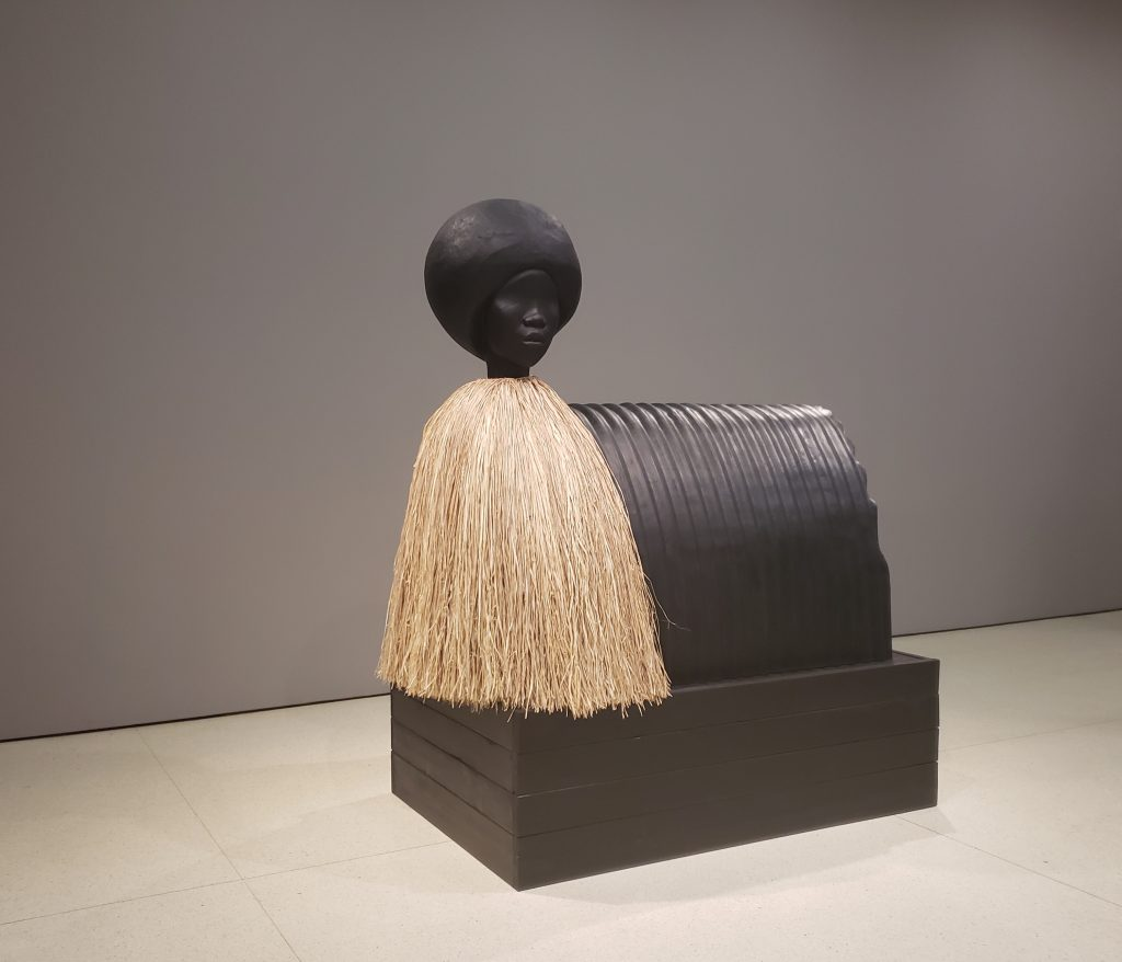 Simone Leigh, Sentinel, 2019, bronze and raffia, edition 1/3. Courtesy the artist and Luhring Augustine, New York. Photo credit: Imani Noelle Ford