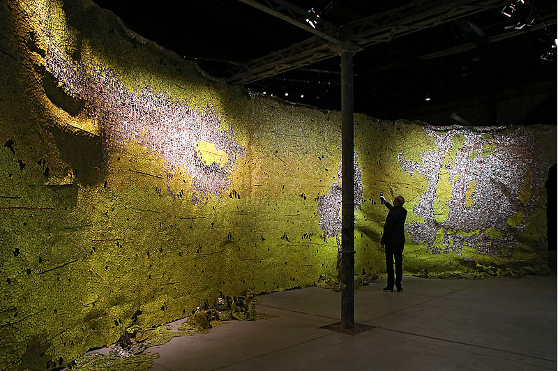 Installation by El Anatsui, Ghana Pavilion, Venice Biennale 2019. Photo: Haupt & Binder. Source: Universes in Universe