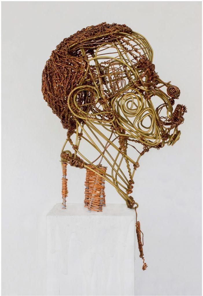 Kwame Akoto-Bamfo, KABE Head, brass and copper wires. © Kwame Akoto-Bamfo