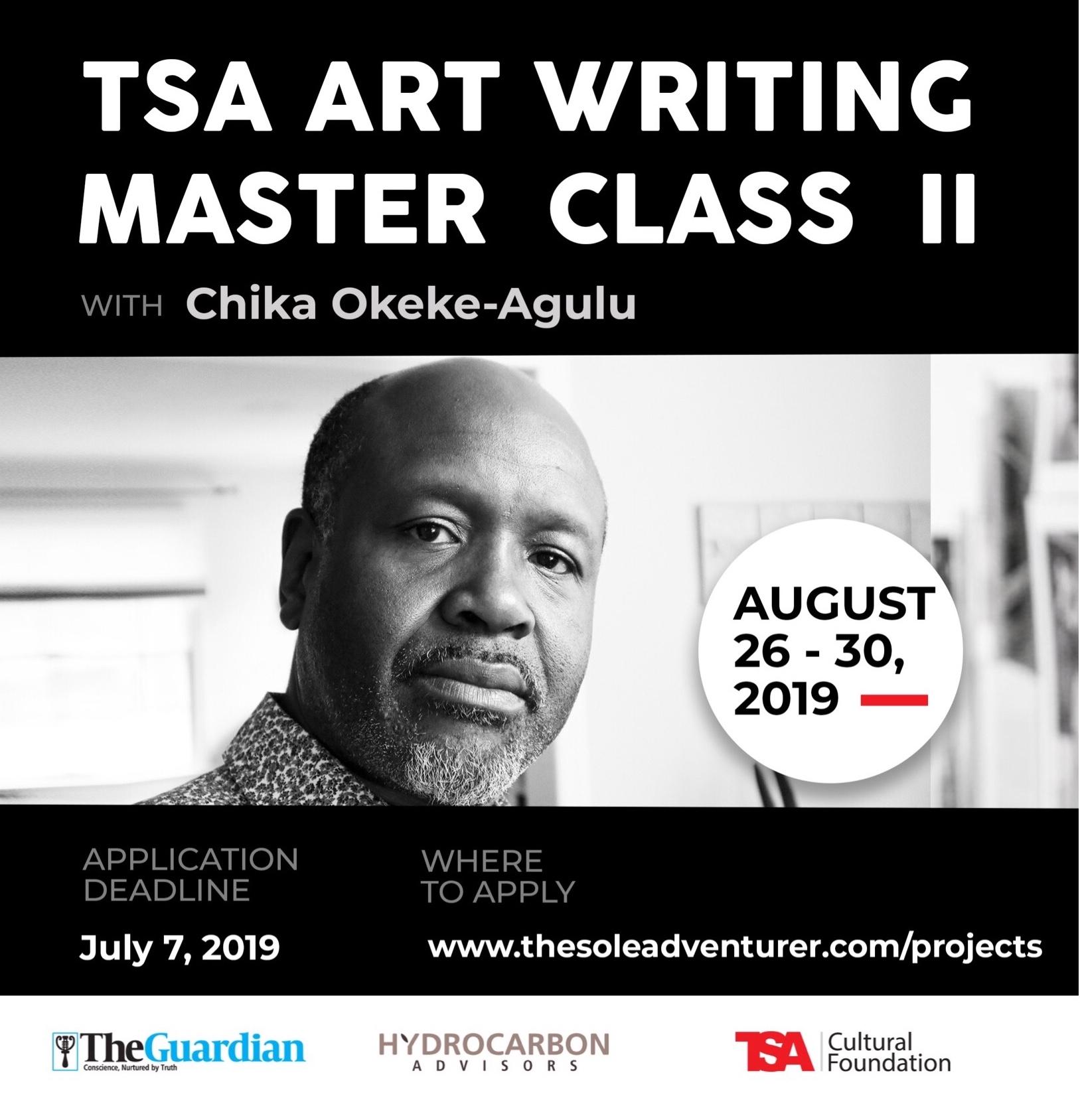 TSA Art writing master class poster