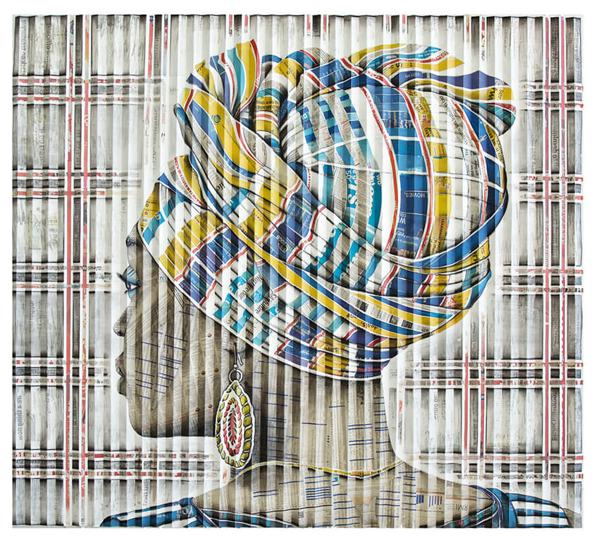 Gary Stephens, 'Leticia Blue Stripe Scarf', charcoal and newsprint on folded paper. Courtesy: ART X Lagos