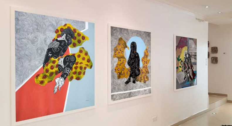 Installation view of Kelechi Nwaneri's works. Stasis exhibition by SMO Contemporary Art, Lagos. Image courtesy: SMO Contemporary Art