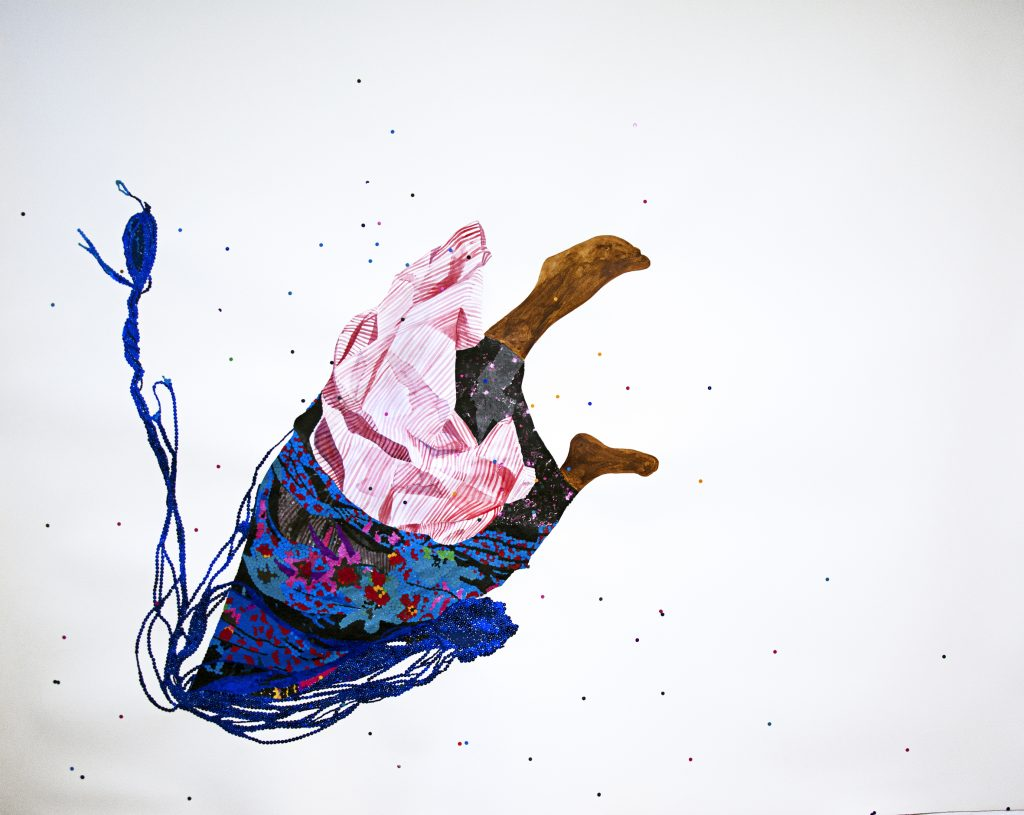 Ngozi Schommers, My Head Under, perforated paper, sequin, design paper, watercolour, ink on watercolour paper, 150x180cm. Courtesy of the artist