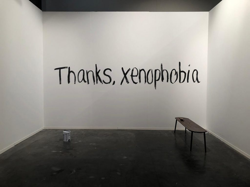 'Thanks, Xenophobia' by Sheila Chukwulozie at FNB Joburg Art Fair 2019
