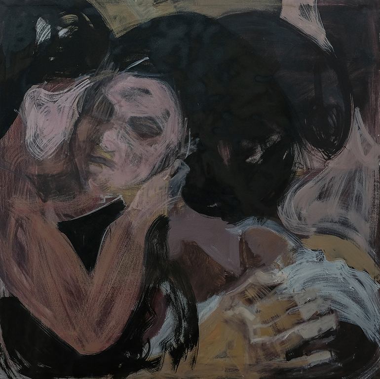 Tizta Berhanu, 'Expecting a Kiss', 2018, oil on canvas. Courtesy: ART X Lagos