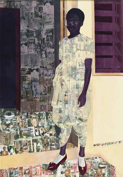 Njideka Akunyili Crosby, The Beautyful Ones, (2012), acrylic, pastel, colour pencil and Xerox transfer on paper, 243 x 170cm, previously estimated between $488,800-$733,200, sold for $3,075,774