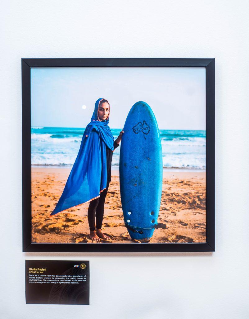 "Giulia Frigieri, ""Surfing Iran, Iran"", Portraits of Humanity at LagosPhoto 2019.Photo credit: The Sole Adventurer/Olupitan Olusanya"