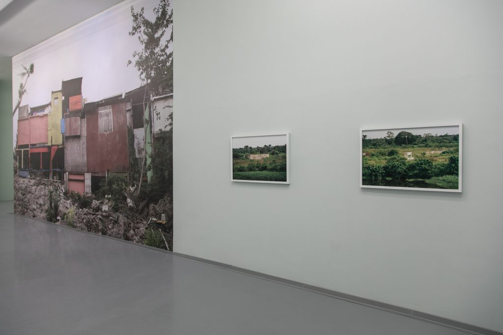 Otobong Nkanga, Installation View (left) Emptied Remains - Assemblage, (right) Things Have Fallen Series | Acts at the Crossroads, Zeitz MOCAA. © Anel Wessels