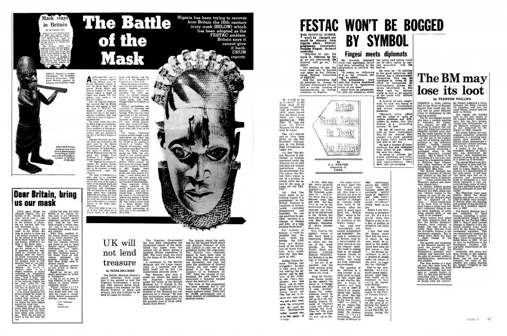 Materials from festac'77 publication. Courtesy RAW Material Company and Chimurenga