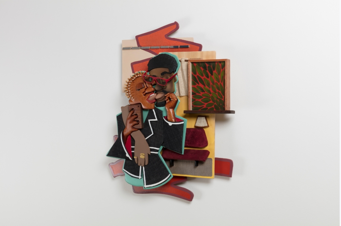 "Dada Khanyisa, ""Better than Groin Area Massages"", 2019, acrylic and mixed media on wood. Courtesy, Stevenson Gallery"