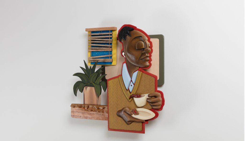 """Dada Khanyisa, """"Precoital Convos"""", 2019, acrylic and mixed media on wood. Courtesy of Stevenson Gallery"""