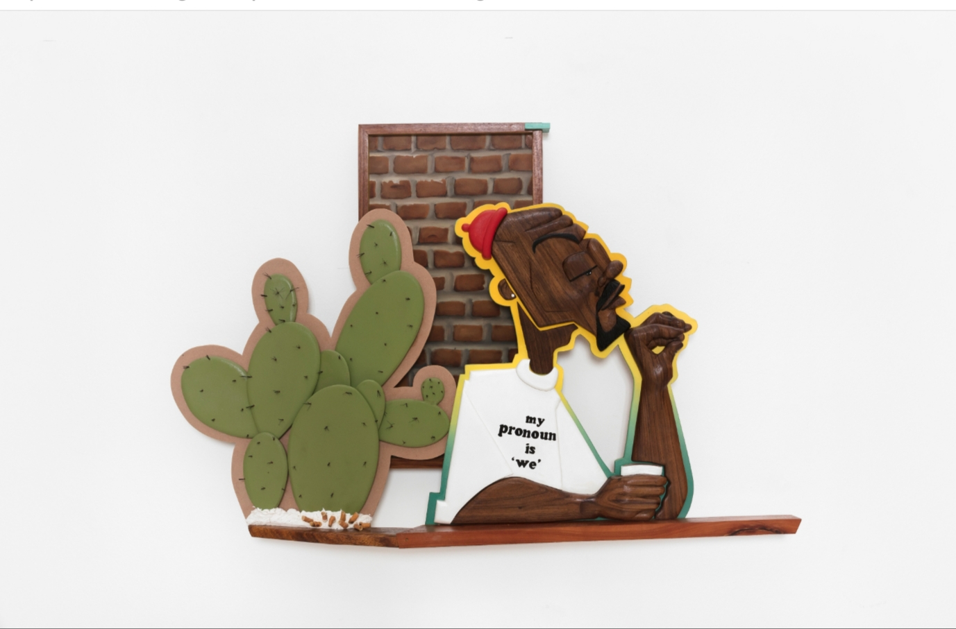 """Dada Khanyisa, """"What a Prick"""", 2019, acrylic and mixed media on wood. Courtesy of Stevenson Gallery"""