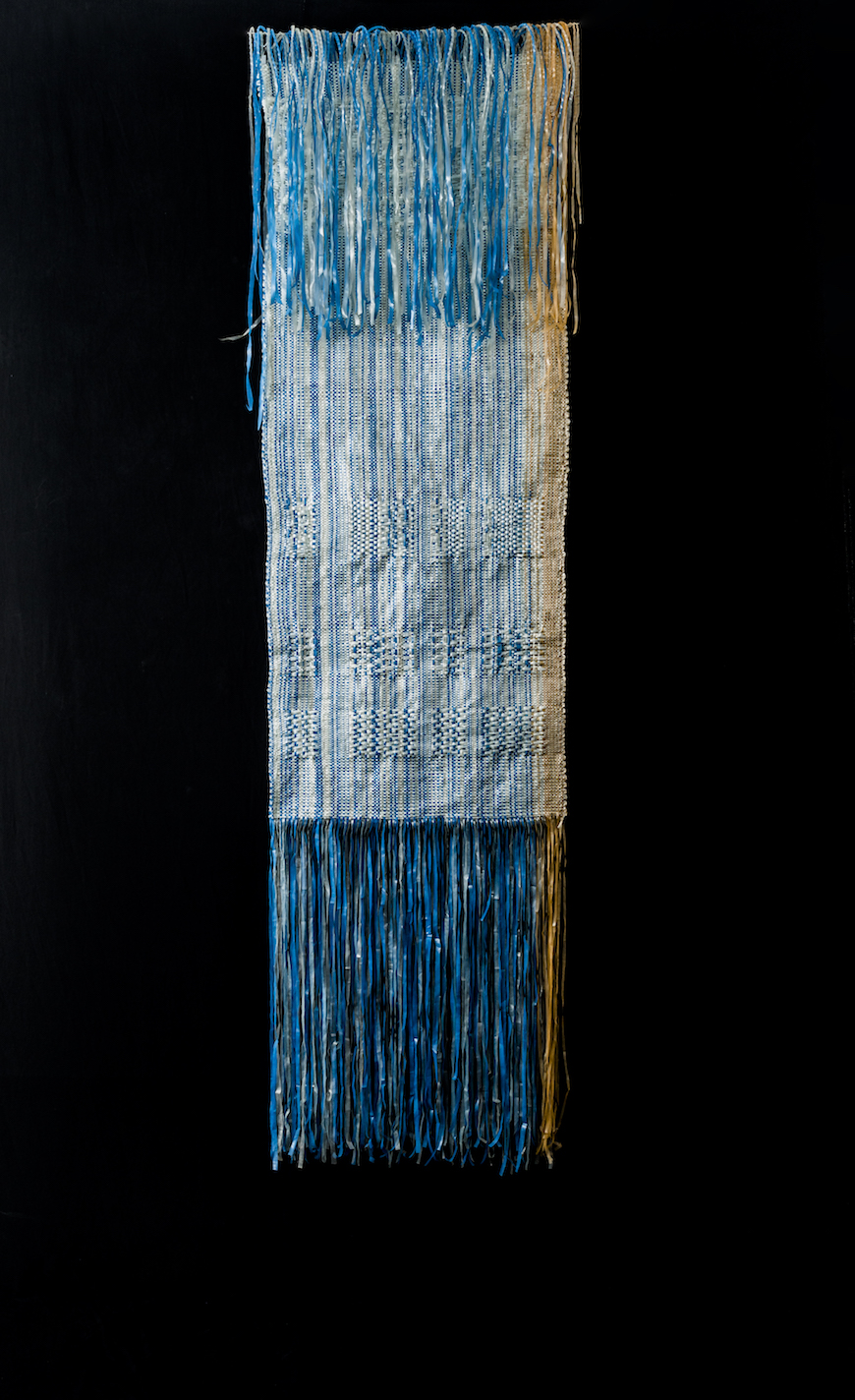 Soukaïna Aziz El Idrissi, 24 Sha Blue/Orange, 2014, Handwoven mixed polymers from discarded plastic waste. Photo: Hassan Ouazzani. Courtesy VOICE gallery