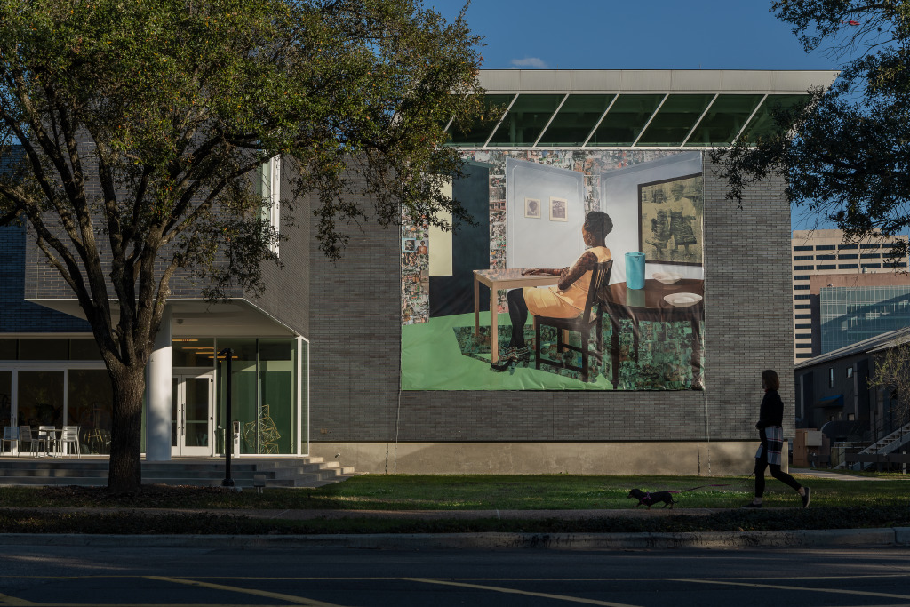 """Installation View: Njideka Akunyili Crosby, """"In the Lavender Room"""", 2019. Photo by Nash Baker, courtesy of Moody Center for the Arts."""