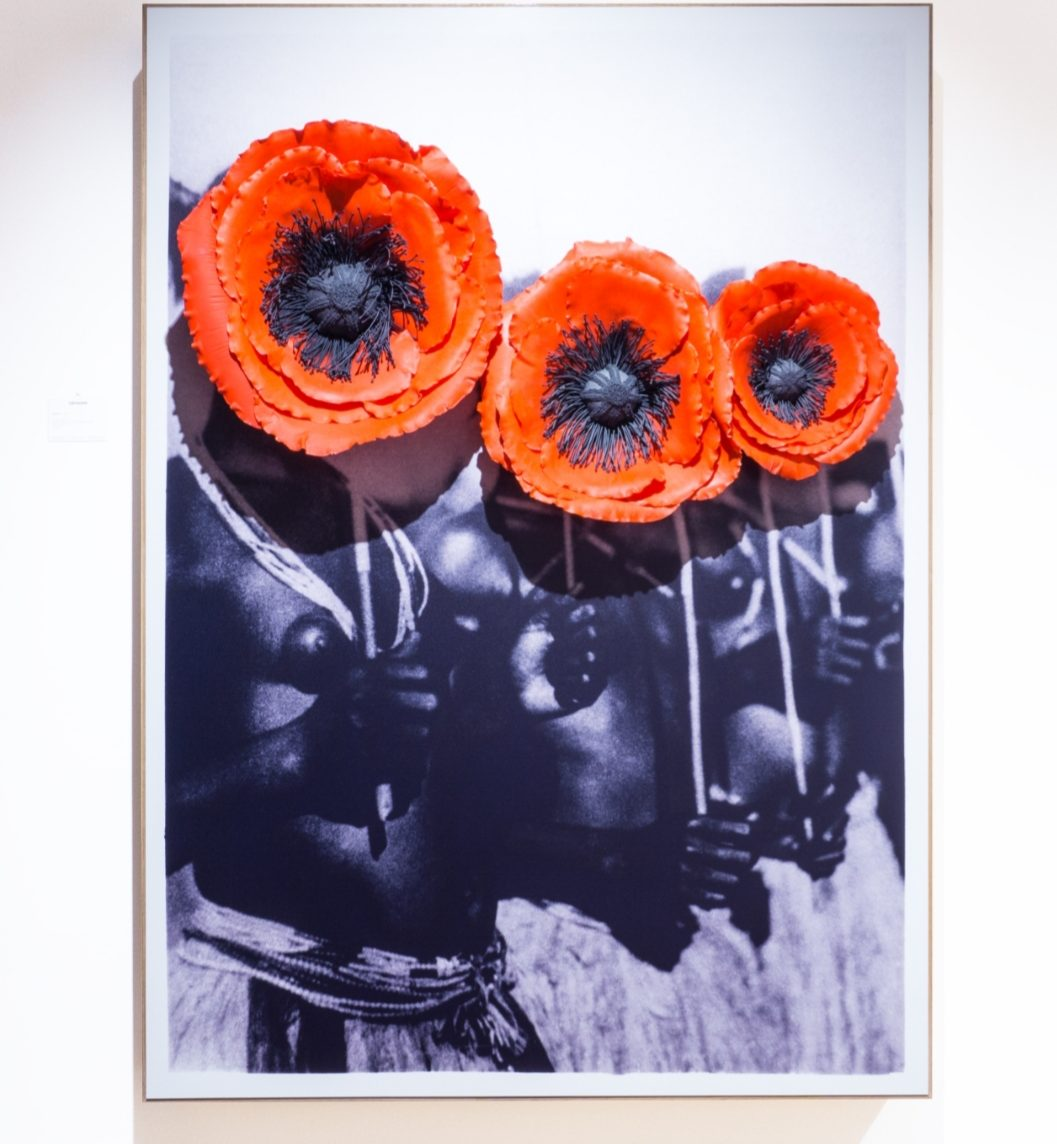 "Owanto, ""Flowers VII"" (2020), UV print on aluminium with cold porcelain flower. Courtesy of Sakhile&Me"