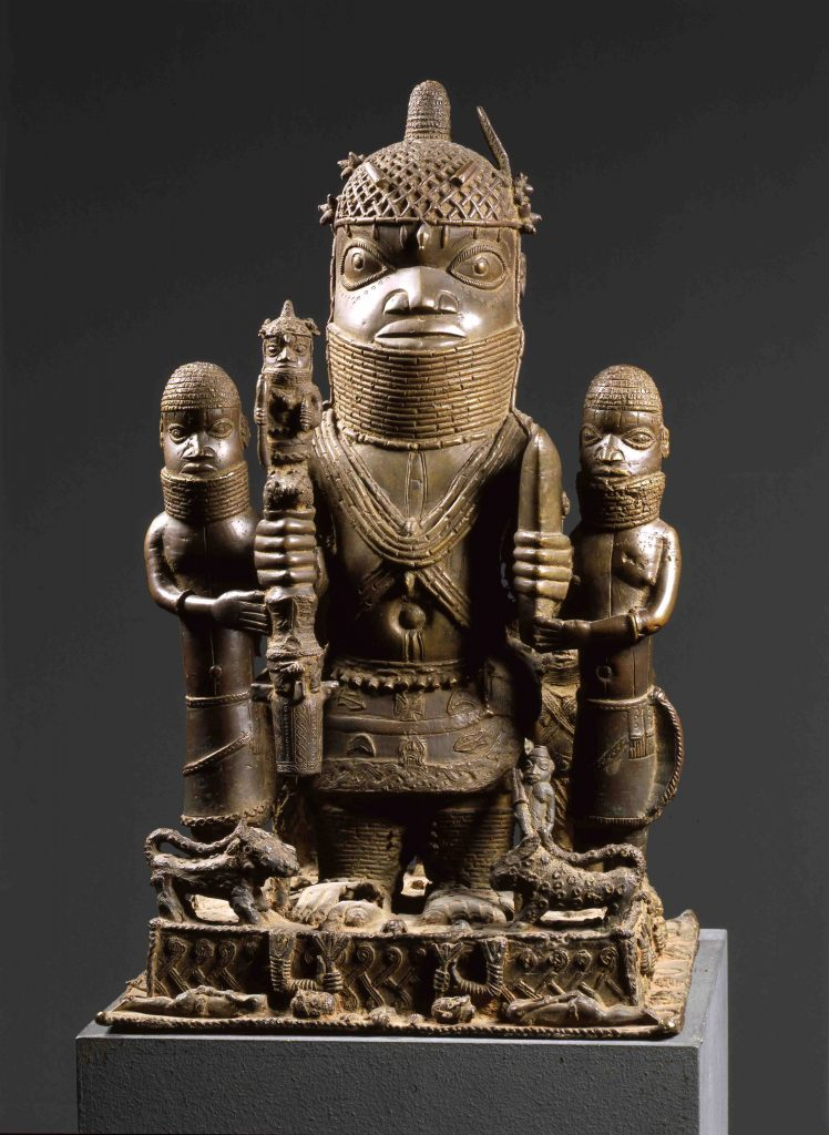 Looted Benin Bronze - Altar Group with Oba Akenzua at the Staatliche Museen Berlin, Ethnologisches Museum