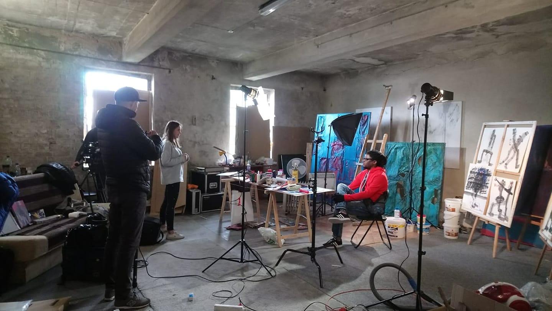 Bob-Nosa Uwagboe at the WL4 Mleczny Piotr art space at the Gdansk Shipyard