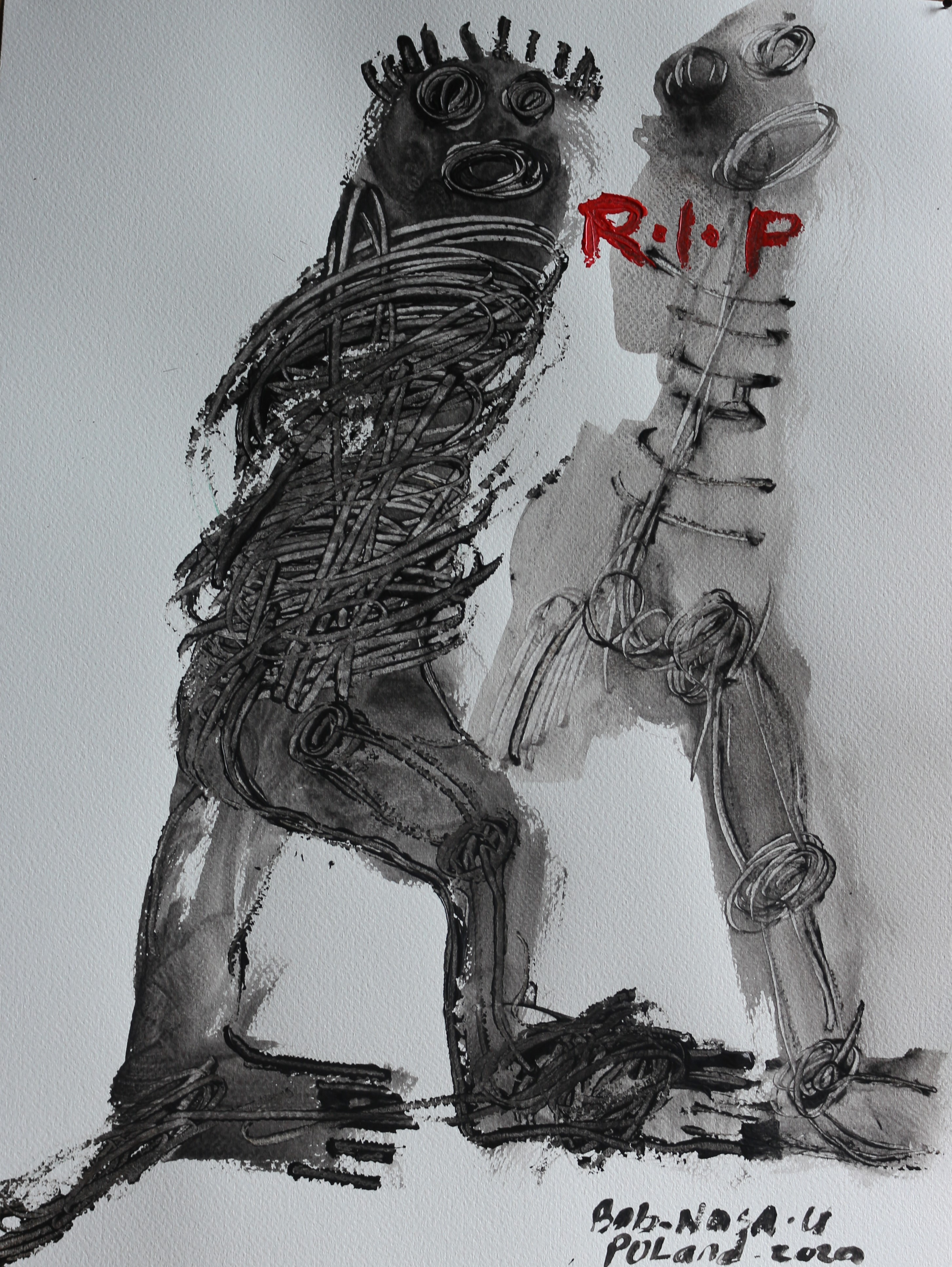 From the series: R.I.P, 2020, acrylic on watercolour paper