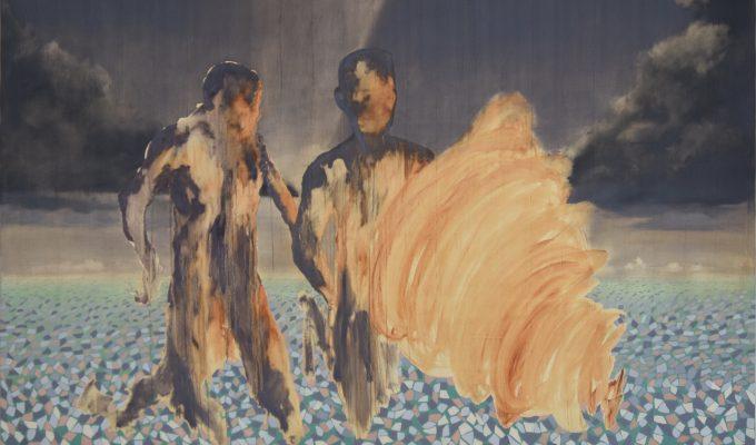 Nengi Omuku, Nearing, 2019, oil on aso oke, 2.5x1.8m. Image courtesy of the artist.