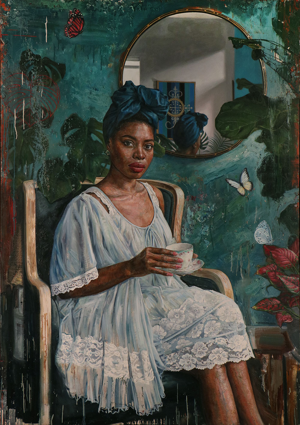 "Tim Okamura, ""The Parlor"", 2019, oil on canvas. Courtesy of Sakhile&Me"