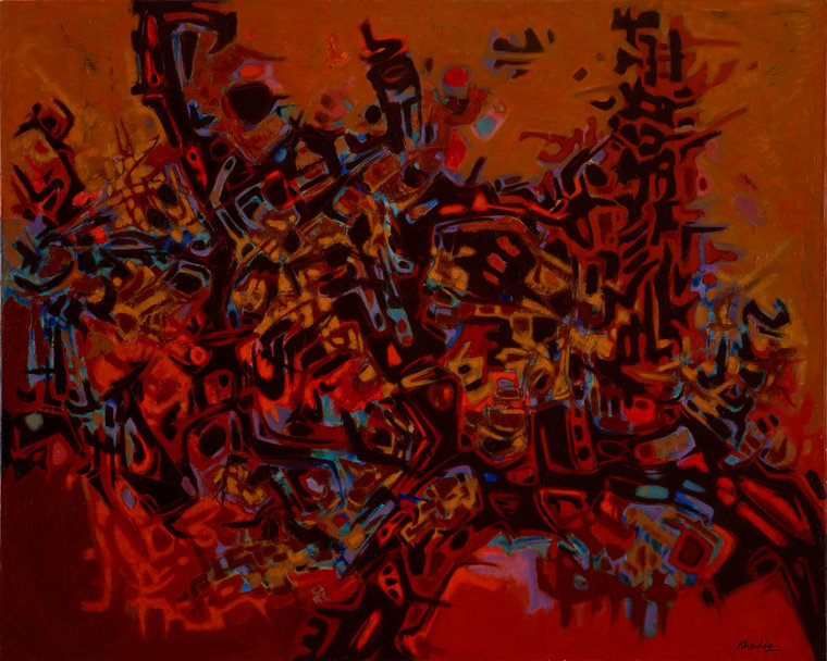 "Mohammed Khadda, ""Roches et Ronces"", 1986, Acrylic on canvas. Image via dafbeirut.org"