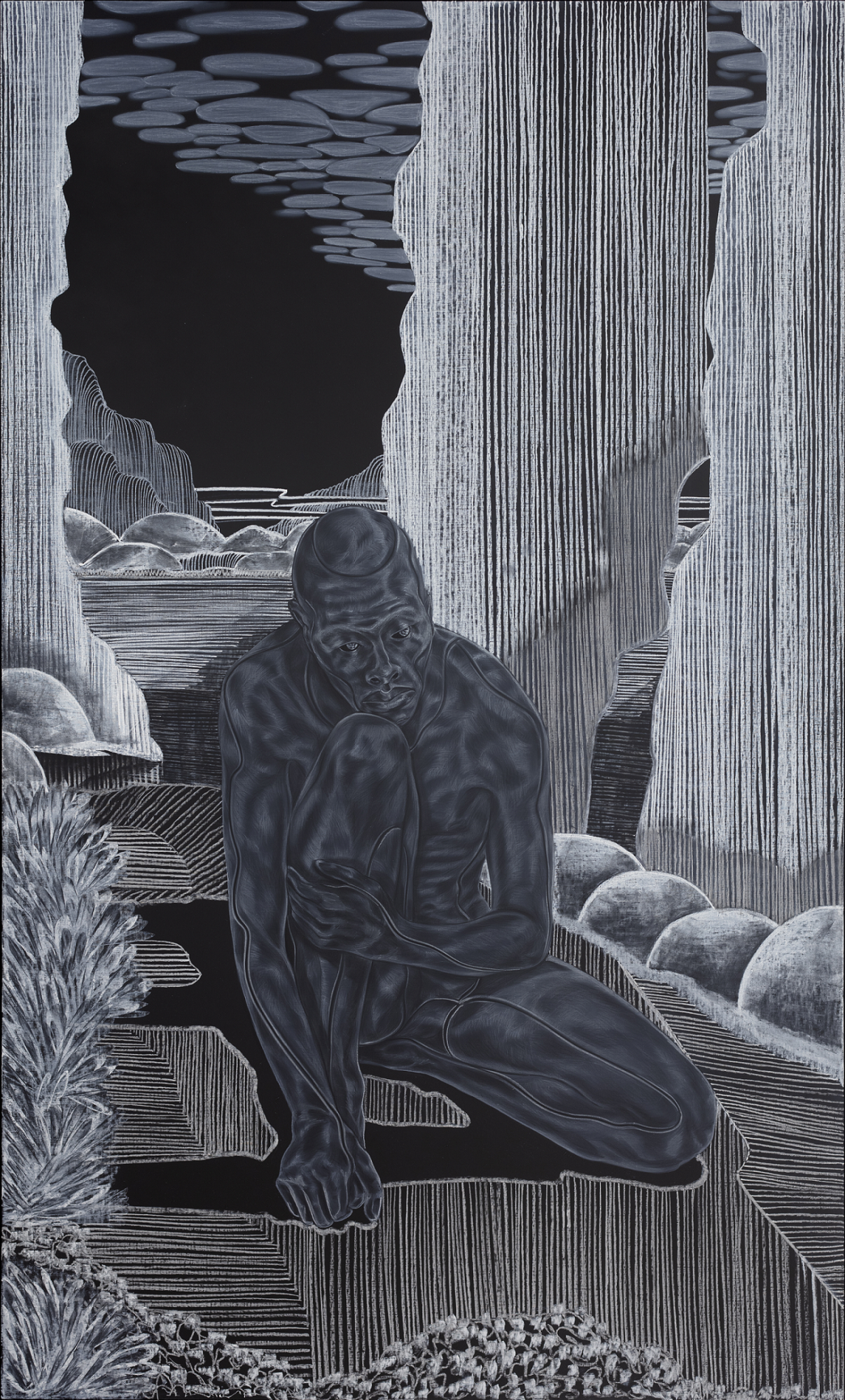 Toyin Ojih Odutola 'Introductions: Early Embodiment' from A Countervailing Theory', 2019, via barbican.org.uk