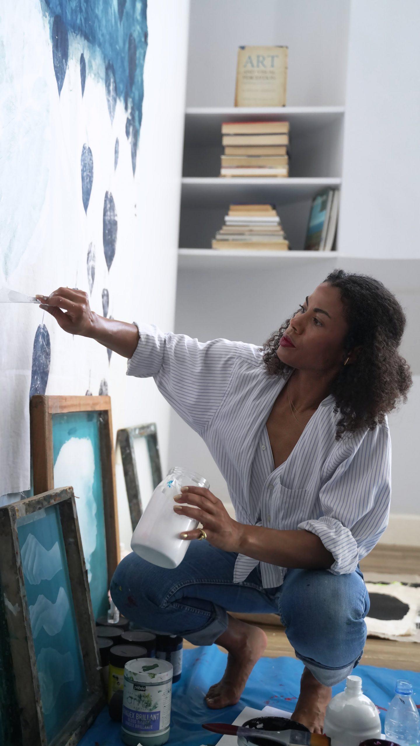 Zohra Opoku at work in her studio at Black Rock Senegal. Photo courtesy of the artist & Mariane Ibrahim Gallery