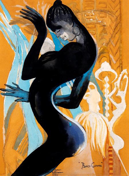 "Ben Enwonwu, ""Black Culture"", 1986, Gouache on paper. Courtesy of kó Gallery"